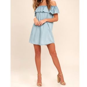 Standout Style Chambray Off-the-Shoulder Dress